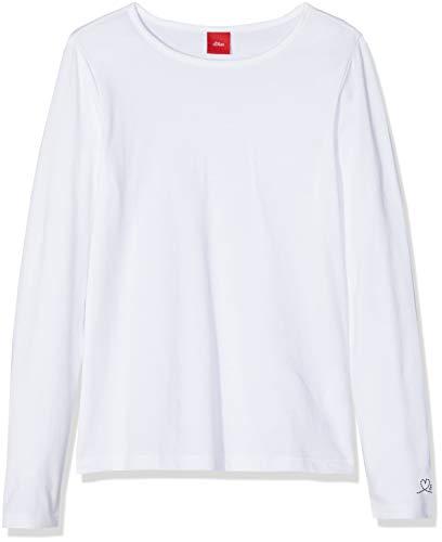 s.Oliver Junior Mädchen 54.899.31.0464 Langarmshirt, Weiß (White 0100), 116/122 cm(Herstellergröße:6-7 Jahre)
