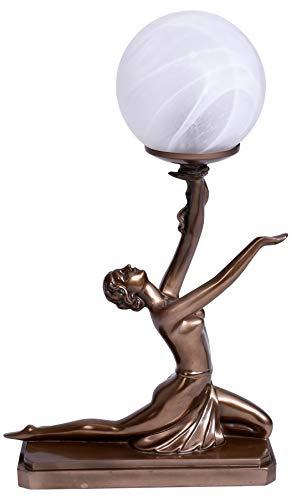 Tischleuchte Art Deco Tänzerin Lampe Kugelschirm Tischlampe Antik Stil IS271 Palazzo Exclusiv