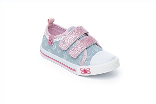 Girls Canvas Chatterbox Pump Infant Velcro Trainers Shoes Mary Jane Low Top (9 UK Child, Kimberley)