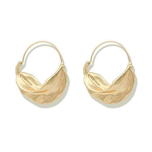 Sunwd Ohrringe, NEW Hyperbole Irregular Leaf Metal Large Hoop Earrings For Women Bijoux Oversized Big Hoop Earrings Statement Earrings Gold