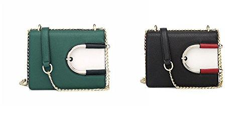 Catena XinMaoYuan pacchetto colore solido manico telescopico tracolla messenger bag Pu sezione orizzontale fibbia magnetica borsa,verde Nero