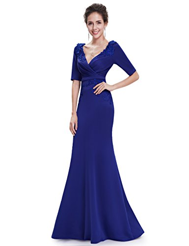 Ever Pretty Robe de Soiree Robe de Ceremonie Maxi Fishtail V Col 08637 Bleu saphire