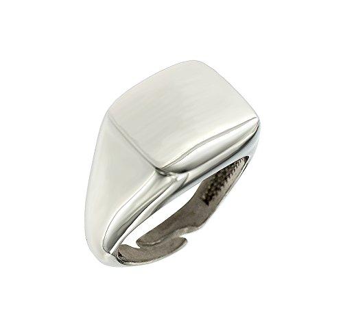 Padre Nostro - Ring Herren rechteckig 14x16MM Silber 925 Größe verstellbar 64 Herren Silber Ring Größe 14