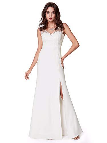 Ever-Pretty Robe de Soirée Longue Femme Col V Broderie Fente 36 Blanc