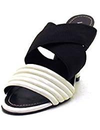 VIA UNO - Sandalias de vestir de cuero para mujer blanco Weiß-Braun