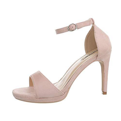 Ital-Design Damenschuhe Sandalen & Sandaletten High Heel Sandaletten Synthetik Hellrosa Gr. 39 -