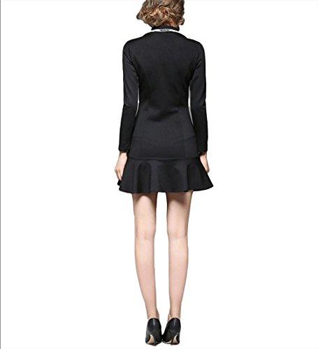 Lady Tweed Anzug Kurzes Kleid Kragen Langarm Fischschwanz Rock - Schwarz m black