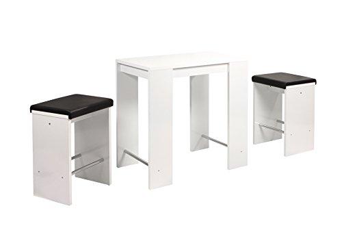 Bartisch Dana, Holzwerkstoff Weiß Glanz, Metallstrebe Chrom,  90 x 60 x 96cm  Apollo