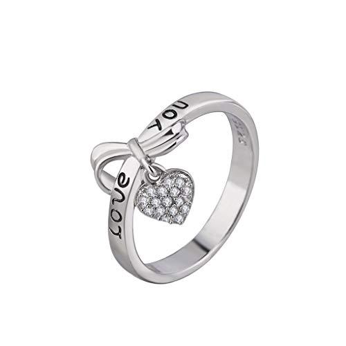 Nourich - anello nuziale da donna a forma di cuore, con zircone cubico taglio princess, placcato in argento