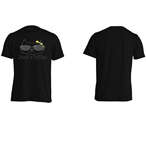 Gatto con gli occhiali da sole Just Chillin novità divertente Uomo T-shirt ii37m Black