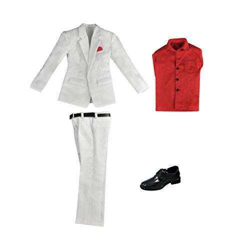 MagiDeal 1 Set 1/6 Puppenkleidung Hochzeitsanzug, Jacke + Hosen + Hemd + Gürtel + Schuhe - Outfit...