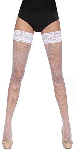 hochwertige edle halterlose Strümpfe (versch. Styles und Farben) Gr. S M L Strapse Overknees Dessous (Lucrezia weiss L)