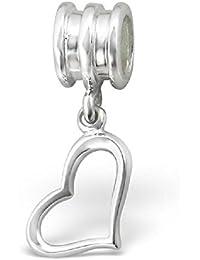 So Chic Joyas - Abalorio Charm Corazón - Compatible con Pandora, Trollbeads, Chamilia, Biagi - Plata 925