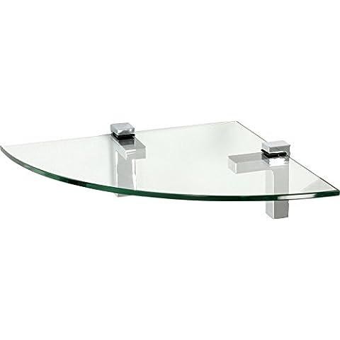 IB-Style - Mensola in vetro | 36 variazioni | Angolo Mensola - 350 x 350 x 10 mm satinato + Clips Quadro cromato