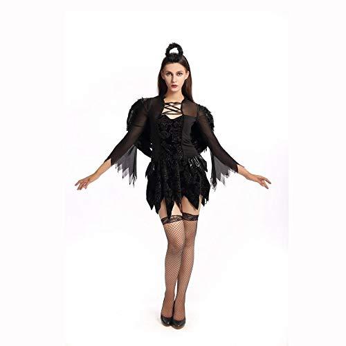 Yunfeng Hexenkostüm Damen Schwarze Hexe Halloween Kostüm mit Flügeln Angel Outfit bösen Vampir