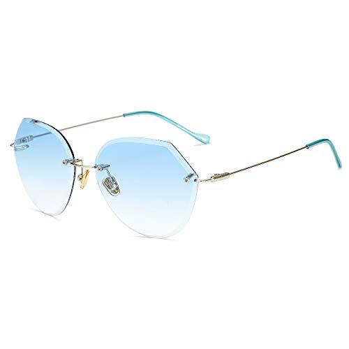 Duhongmei123 Mode Brillen Mode Damen Sonnenbrillen Großhandel Trend Frameless Sonnenbrillen geschnitten Rand Progressive Farbe reflektierende Sonnenbrille. Occhiali (Color : 4)