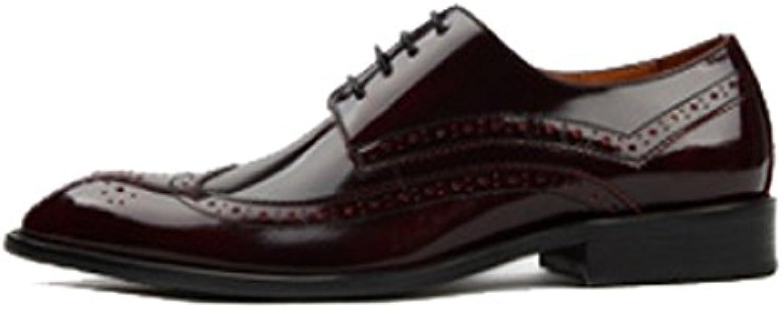 ZPEDY Brock Hombres Tallado Negocios Zapatos De Cuero Encaje Transpirable Zapatos Individuales Apuntado -