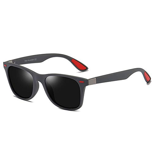 Herren Polarized Classic 100% UV-Schutz-Sonnenbrille für das Fahren Radfahren Laufen Angeln Golf Beach, Mode-Stil mit klaren Anti-Fog-Kratzer beständig Wrap-Around Linsen (Color : Black, Size : M)