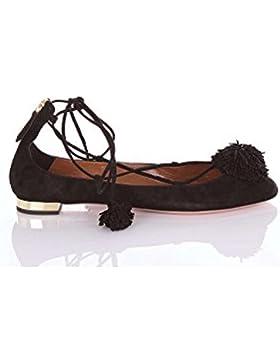 Ballerine con lacci Aquazzura in pelle Scamosciato nero - Codice modello: SNHFLAA0SUE000