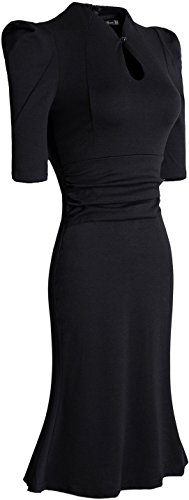 Jeansian Femme Entreprise Sexy Cocktail Parti Fashion Casual Slim Crayon Robes WKD204 Black