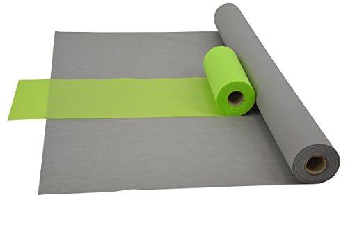Sensalux Kombi-Set 1 Tischdeckenrolle 1m x 25m + Tischläufer 30cm (Farbe nach Wahl) Rolle grau Tischläufer apfelgrün