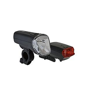 Büchel 60 Lux LED-Batterieleuchtenset TrioLux Pro plus Rücklicht - StVZO zugelassen für alle Fahrräder, schwarz, 51125480