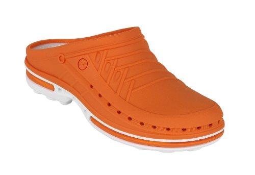 Clog – WOCK Berufsschuhe – Sterilisierbar; antistatisch; rutschhemmend; stoßdämpfend Weiß/Orange