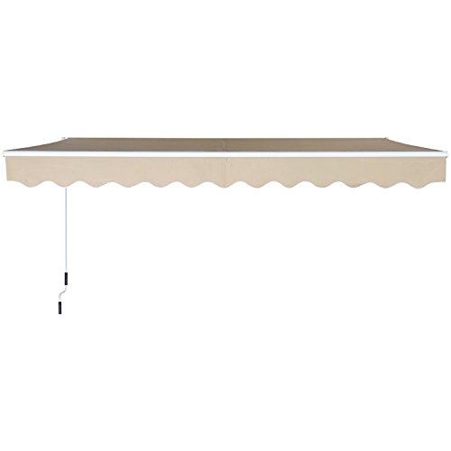Outsunny Tenda da Sole Avvolgibile a Parete Manuale con Manovella per Esterno Tessuto di Poliestere Alluminio 395 × 250cm