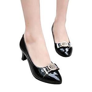 TianWlio Pumps Mode Beiläufige Berufsschuhe Runde Zehe Kristallflacher Med Heels Parteischuhe Arbeitsschuhe Black White Pink 35-42