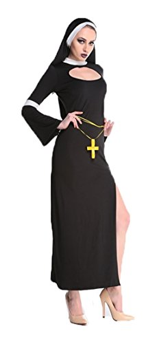 Aimerfeel Damen Nonne Kostüm mit Kleid und Kopfbedeckung -