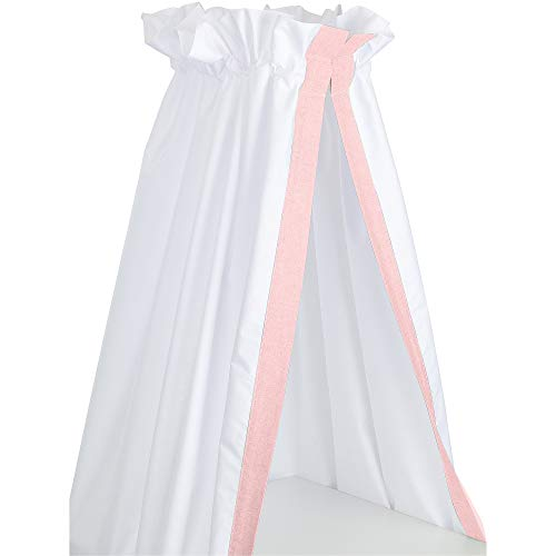 Sugarapple Betthimmel für Babybetten oder Kinderbetten 150 cm Höhe x 200 cm Länge, Babyhimmel Vorhang aus 100{b2ce7b52eac97e7e9d3675e4b9da2c1202363241ea677e542cd7df9521020911} Baumwolle, Uni Rosa