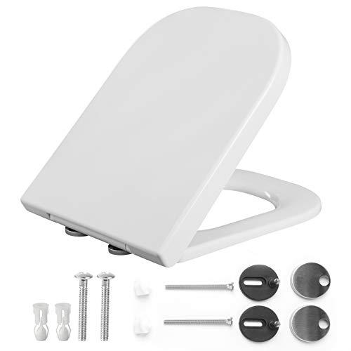 EUGAD 0388MTG Toilettensitz WC Sitz mit Absenkautomatik, Duroplast, rostfreie Klappdübel, Toilettendeckel, softclose Scharnier, eckig Form