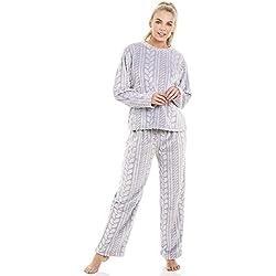 Ensemble de Pyjama en Polaire très Douce Motif tressé - Gris 40/42
