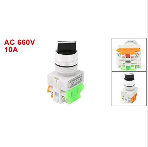 Coogel AC660V 10A DPST NO/NC 2 Position ON/Off Rotary Selector Latching Push Button Switch -