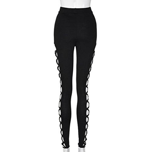 Tefamore Pantalons sexy femmes haute taille Slim Pencil Pantalon Casual Pantalons Leggings Creux Noir