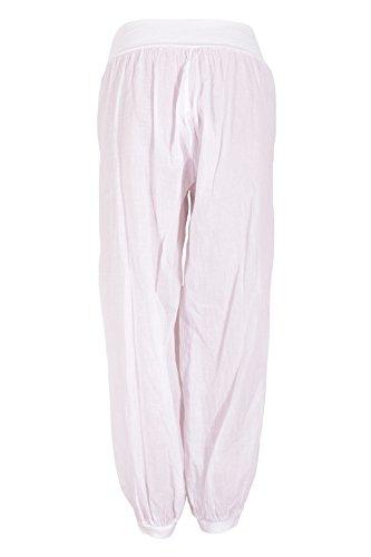 Catch Fashion Aladinhose Pumphose Haremhose Sommerhose Unifarben 2 Taschen Weiß