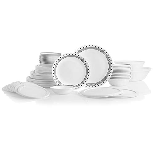 CORELLE 78-Piece Service for 12, Chip Resistant, City Block Dinnerware Set,