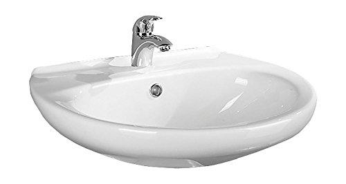 Waschtisch Aveiro | 65 cm | Weiß | Waschbecken | Waschplatz | Keramik | Bad | Badezimmer | Gäste-WC | Mit Überlaufschutz
