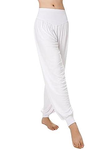 Baymate - Sarouels Pantalon Yoga Bouffant Modal pour Femme -Bloomer Elastique Extensible - Harem Pants Danse Pilates Sport Blanc S