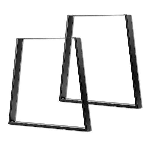AUFUN Tischgestell Metall Tischbeine 2er Set Tischuntergestell Design Tischfuß Möbelfüße DIY Esstischgestell Tischbein, Couchtischgestell Esstischgestell, Trapez, Schwarz, 71cm hoch, Breite 45-65 cm
