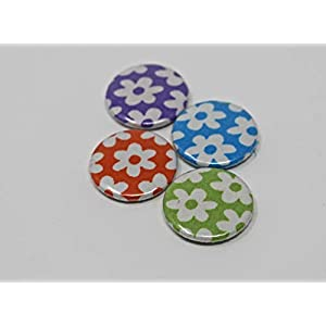 4er Button-Set FlowerPower, bunt gemischte Stoff-Buttons