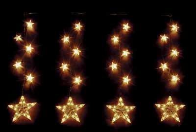 Hellum 506037, Sternenkette aus Kunststoff, Innen- und Außenbeleuchtung, 18-tlg. Sternenkette, 3 Stränge, Strangabstand 35cm, 3 große / 15 kleine Sterne, klar, B: 0,9 m, H: 0,95 m, Zuleitung 4,25m, Kabel weiß, inkl. Trafo von HELLUM - Glühlampenwerk
