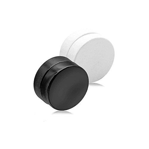 Magnet Fake-Plugs Fake-Piercing Ohrstecker Ohrring Tunnel Plug Ohne Loch Unisex Ohr-Clips Magnetisch Edelstahl, Farbe:schwarz weiß - 6mm