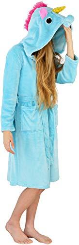 f792758b6800d6 Worldstyle Damen Bademantel Fleece - Morgenmantel mit Kapuze Kigurumi  Onesie Einhorn blau Gr. M