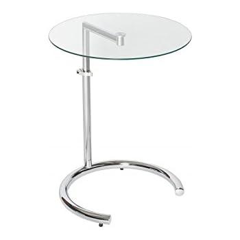 Dunord Design Beistelltisch Glastisch Calais Chromglas