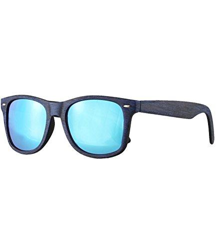 Caripe Retro Nerd Vintage Sonnenbrille verspiegelt Damen Herren 80er - SP (LS535 - Holzoptik blau - blau verspiegelt)