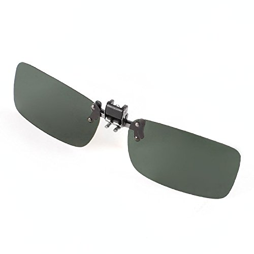 DealMux Augenschutz Clip on Glasses Dark Green Flip Up polarisierten Sonnenbrillen Linse