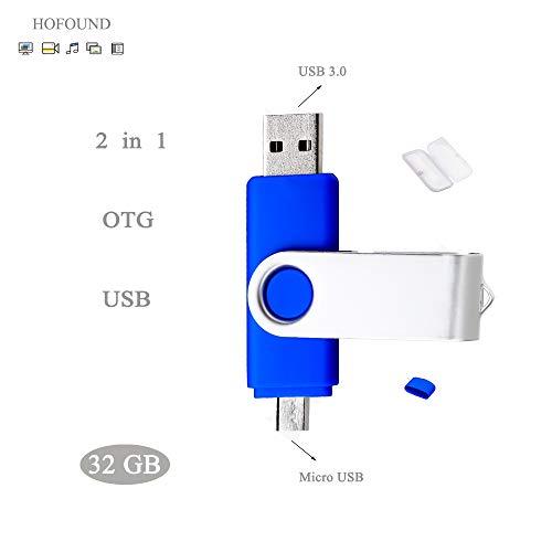 32GB USB 3.0 Dual Port HOFOUND USB Stick OTG (On The Go) Swivel Flash Drive für PC & Andriod, Blau