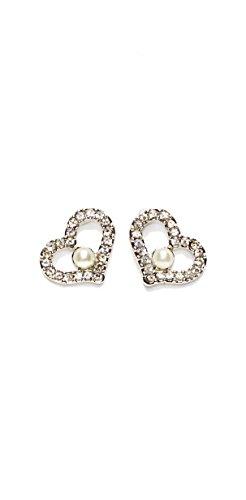 Bijoux Boucles d'oreilles clous en acier chirurgical Coeur w/une perle Fashion pour femme blanc
