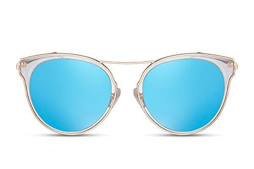 Cheapass Sonnenbrille Rund-e Gläser Verspiegelt Gold Blau UV-400 Designer-Brille Damen Frauen Metall